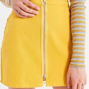 BDG Yellow Zipper Front Skirt